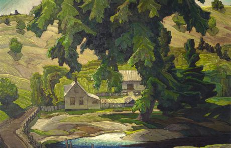 oil painting of a farmhouse and barns with large tree in right foreground and pond