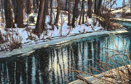 Painting of a river in winter with reflections of trees.