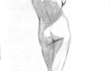 black and white drawing of a female nude seen from behind