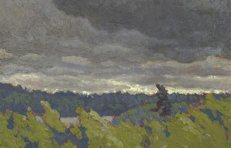 Oil painting of a wooded landscape under a dark sky with lake visible.