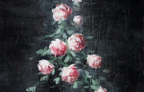 Painting of pink roses on a black background.