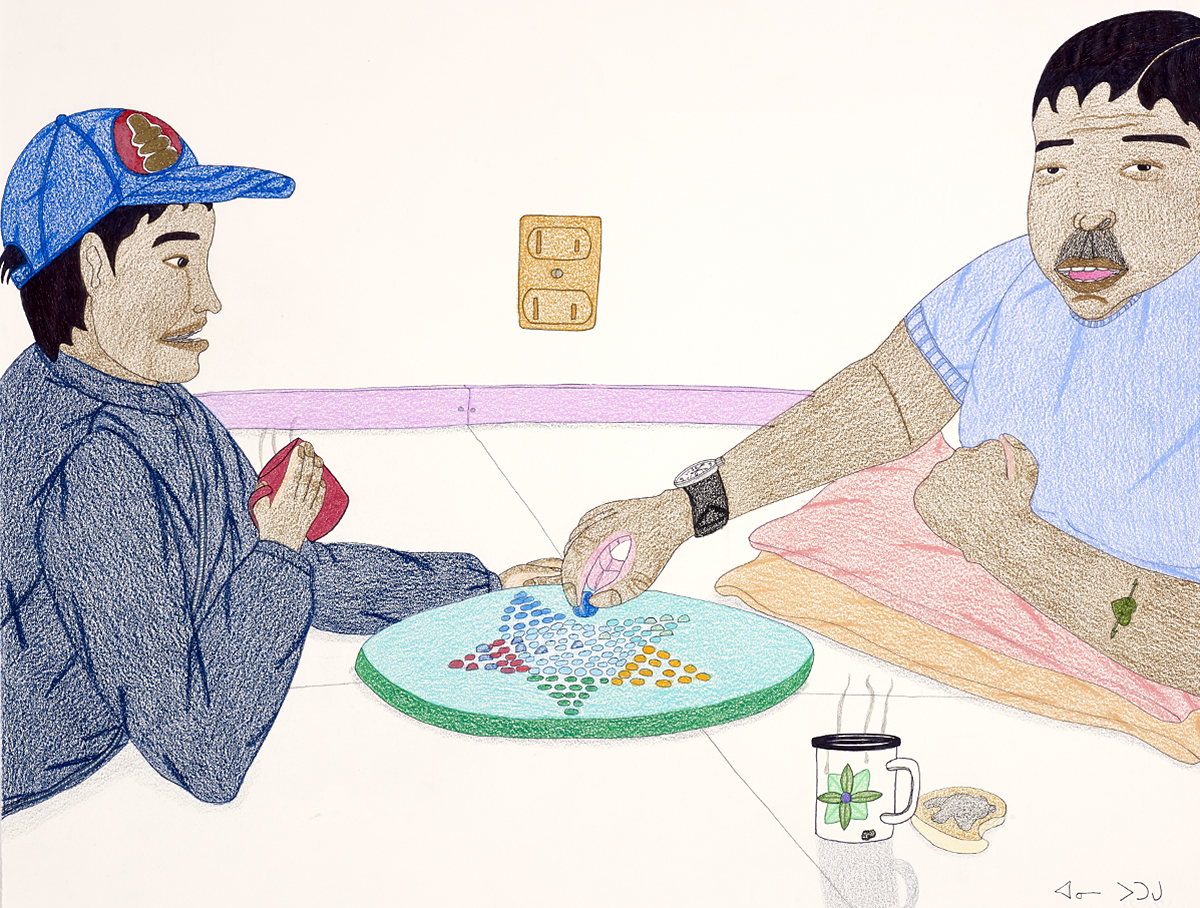 Drawing of two males playing Chinese Checkers. Young male on left side wearing baseball hat and holding a red mug. Older male with black hair and a moustache is making a move on the game board in the centre. Steaming mug and partially eaten slice of toast on table in front of him.