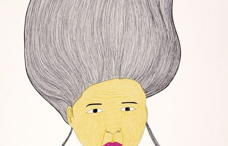Drawing of the head of a woman. She has bright pink lips, black hair standing straight up with two strands hanging on either side of her face. She is wearing a necklace.