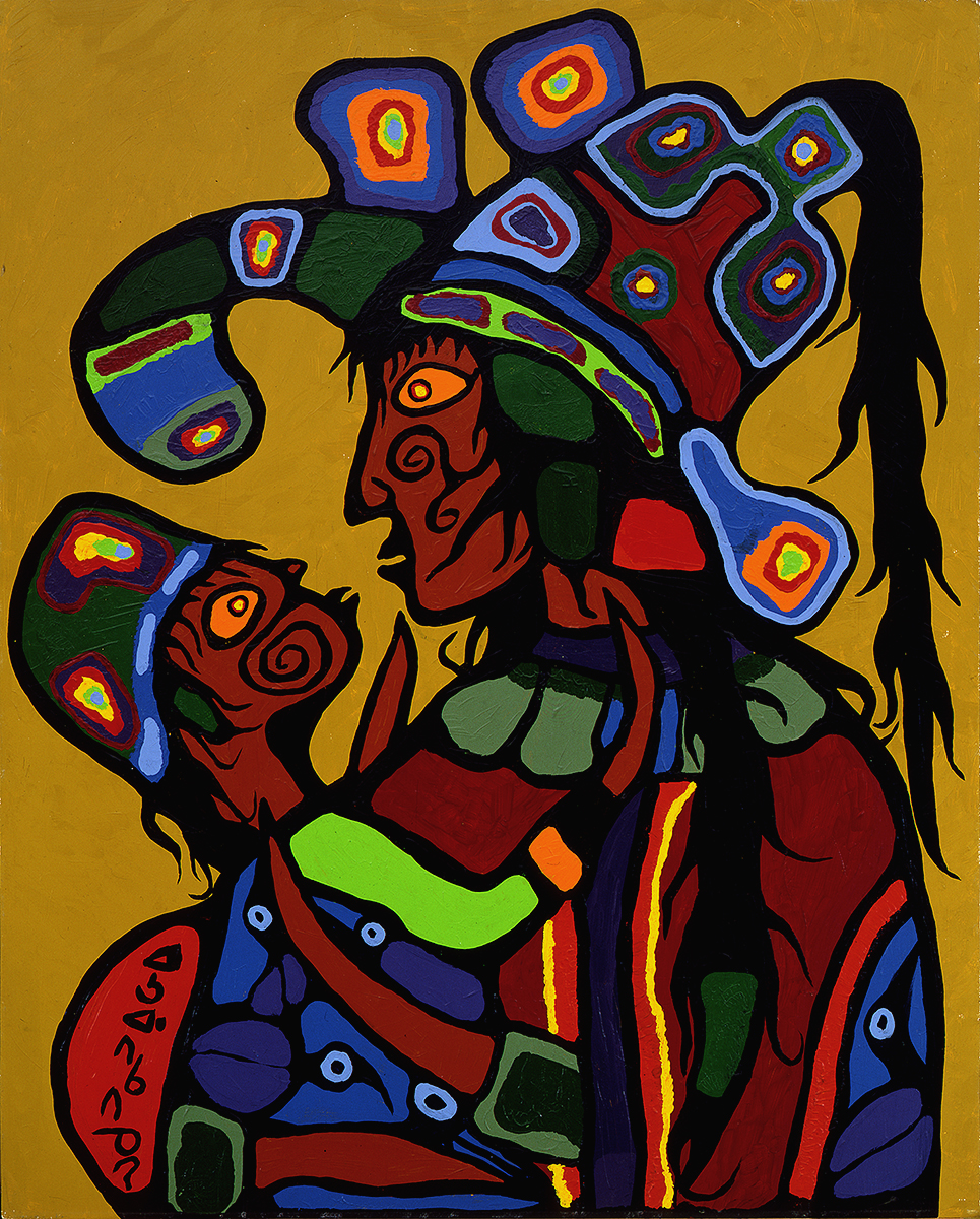 colourful painting of person in profile wearing elaborate headdress, holding a child