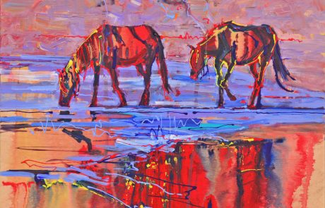 colourful painting of 2 horses walking in a watery landscape
