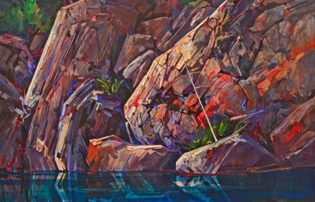 painting of steep rocky shoreline with blue water in foreground