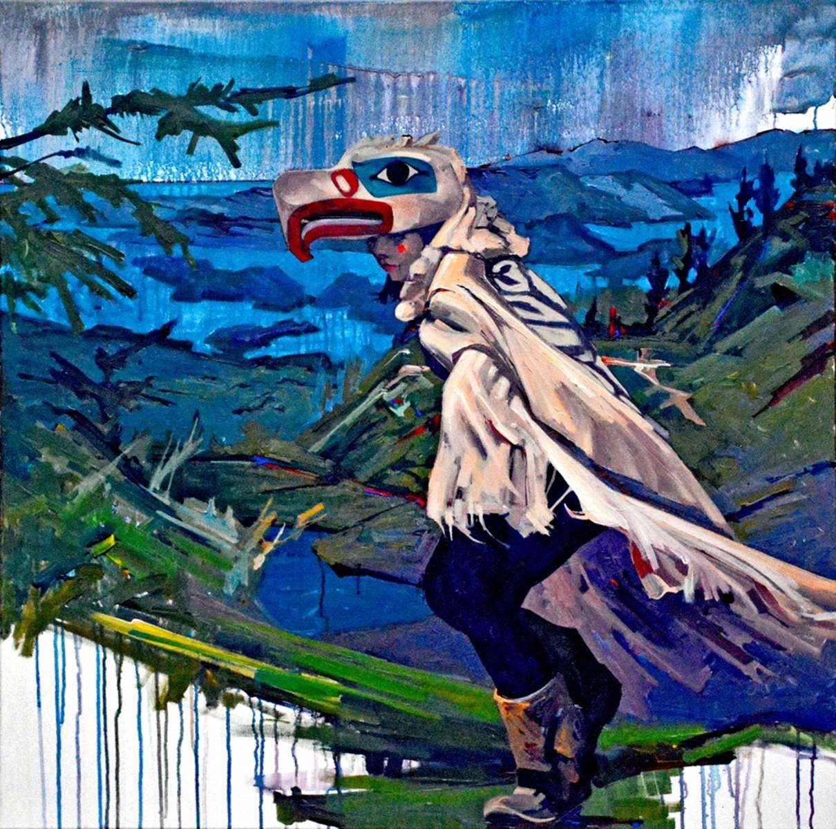 painting of a person wearing a bird mask and costume in a mountainous setting