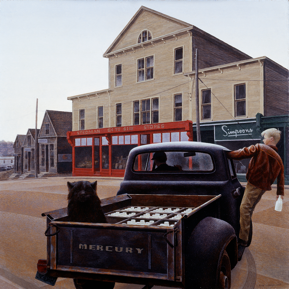 oil painting of a truck delivering milk on a town street with black dog in truck and boy holding a milk bottle