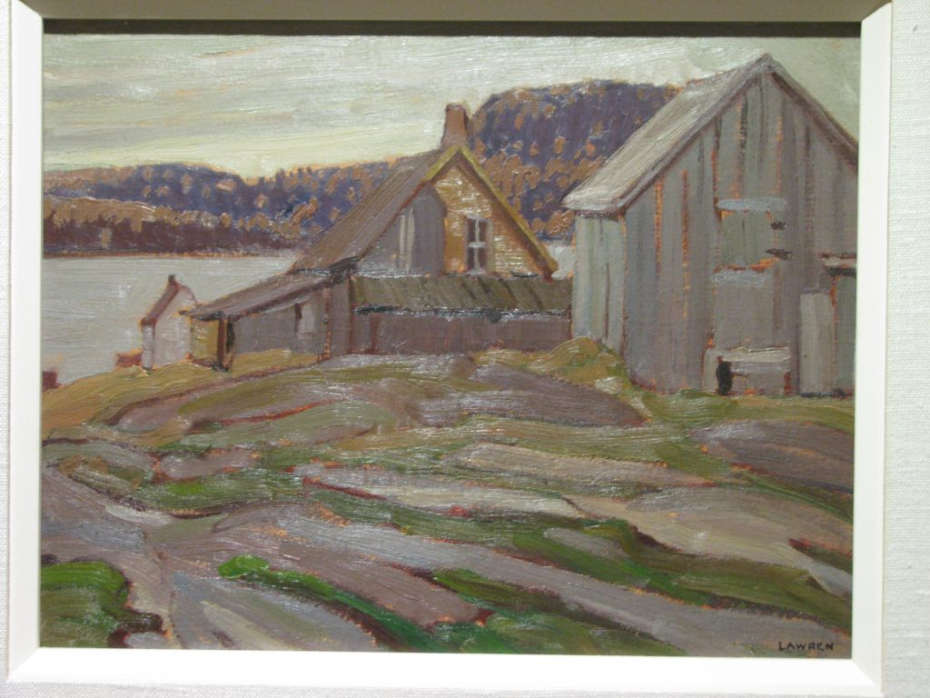 oil painting of wooden buildings on rocky land with lake and forested hills on far shore