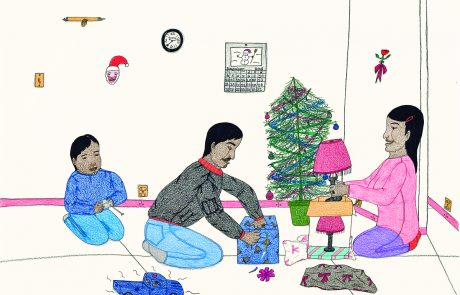 Drawing of a man, a woman and a child kneeling in a living room with a Christmas tree. They are opening gifts.