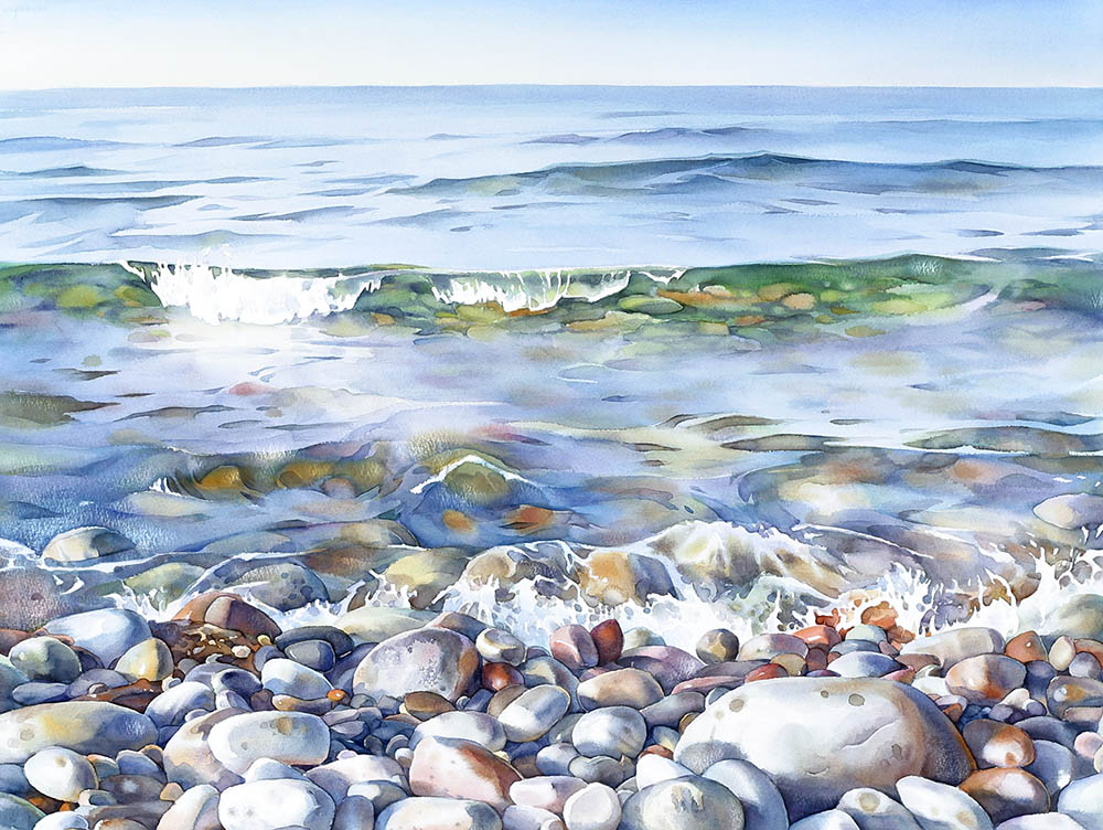 watercolour painting of shoreline with pebbles in foreground and waves breaking