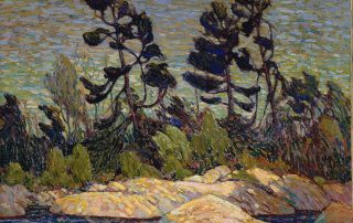 Painting of rocky landscape with pine trees behind the rocks and water in between