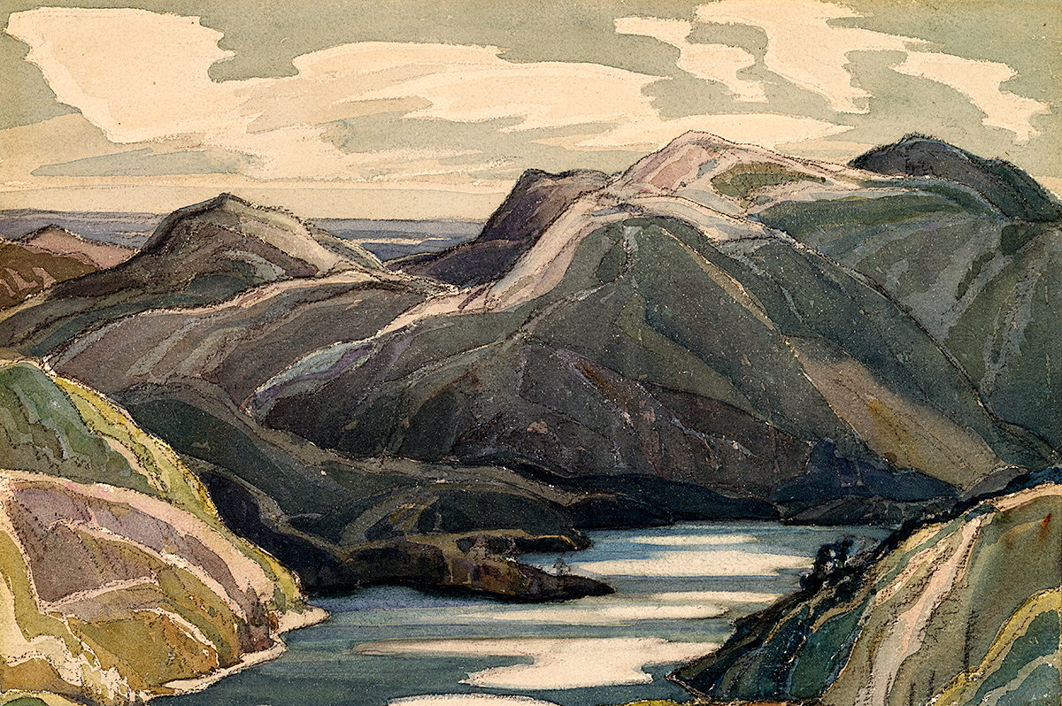 oil painting of mountain landscape with lake in centre