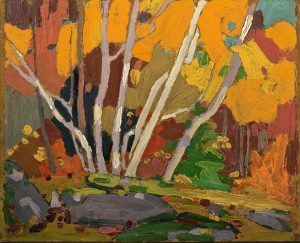 oil painting of birch trees in forest with foliage in autumn colours