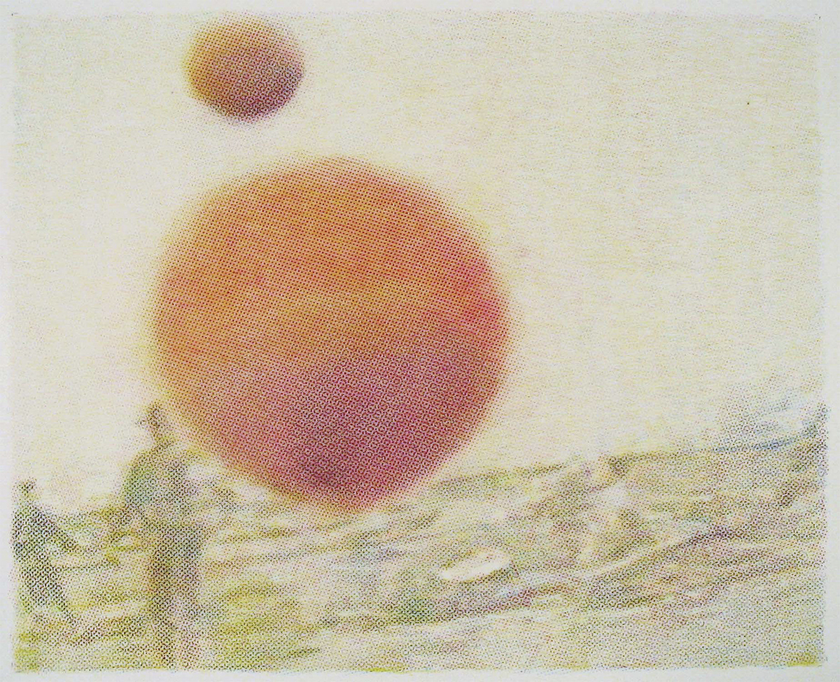 crayon drawing of 2 figures in a barren landscape with 2 orange spheres