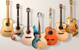 seven guitars side by side in a vertical position