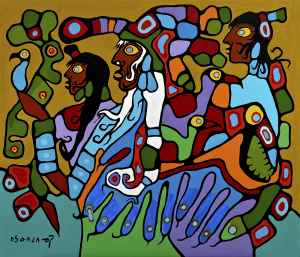 colourful painting in an abstract style of human figures and birds and animals