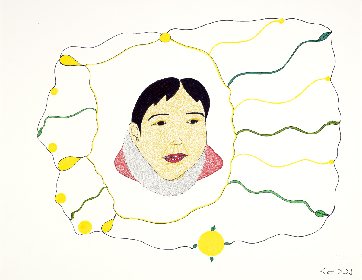 drawing of head of person with short black hair inside an irregular frame with yellow and green pattern