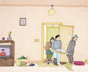 drawing of house interior with three people in winter clothes carrying items in through the door