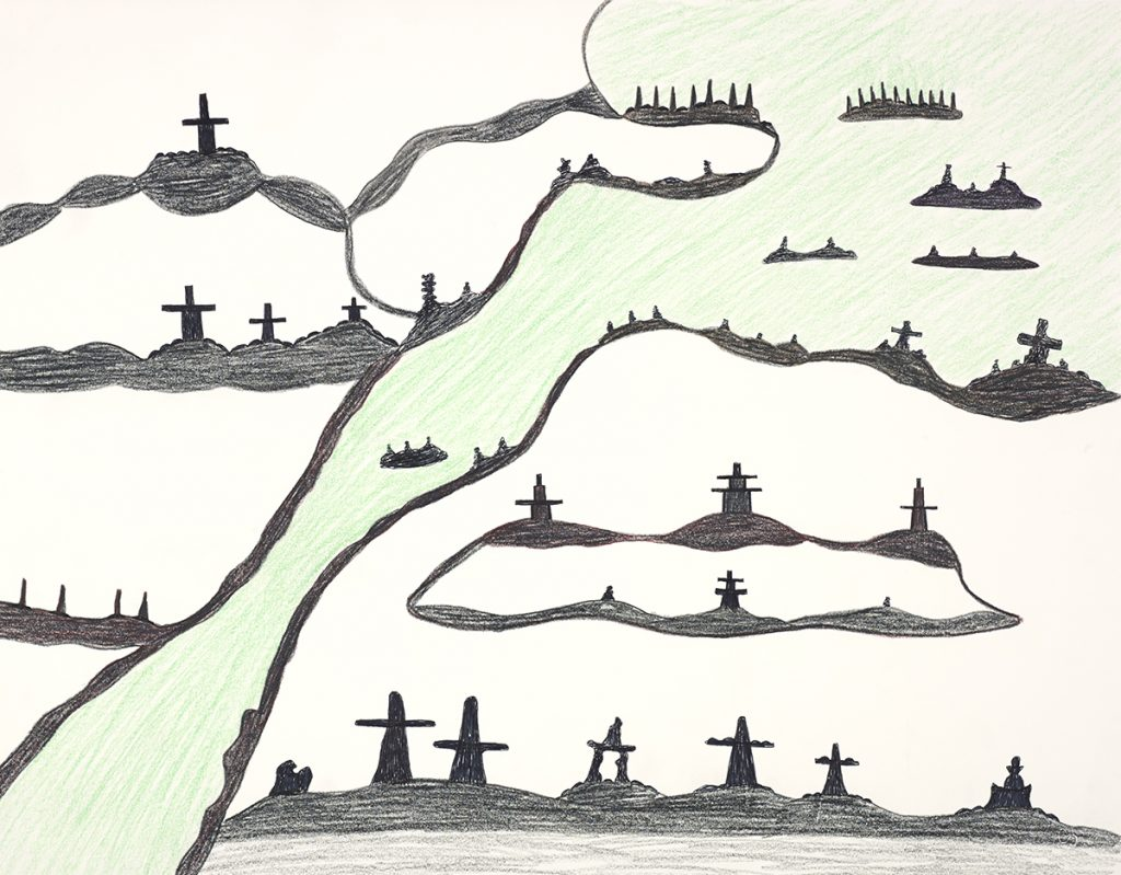 drawing of a landscape in a simple style, showing black rock structures on a white background and light green area