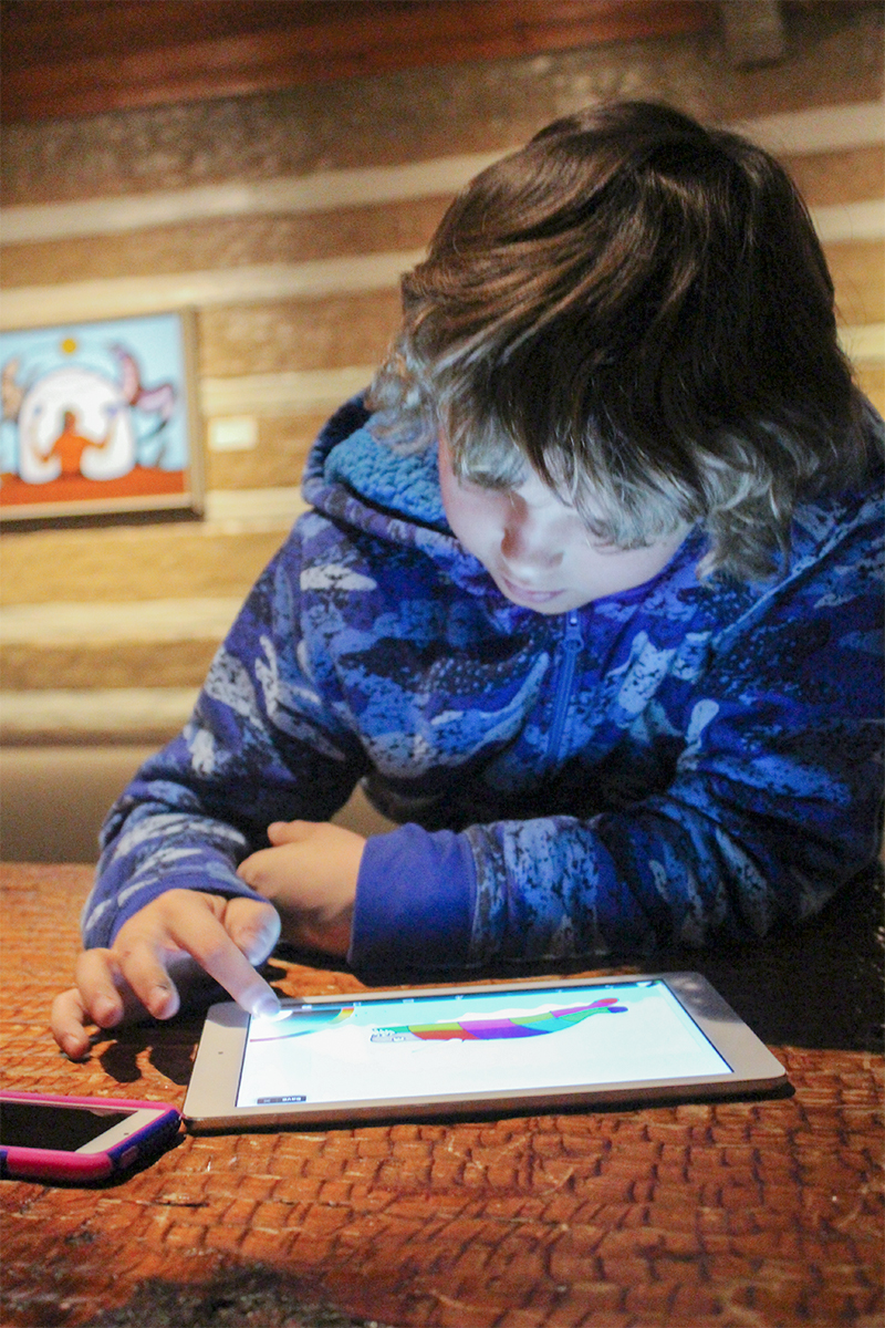 photograph of a child wearing a blue jacket. The child is at a table using an ipad
