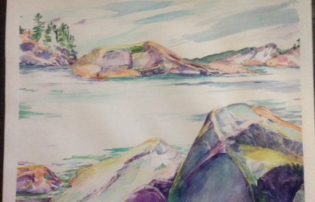 watercolour painting of river flowing horizontally between a rocky shore