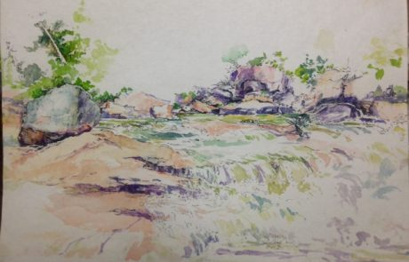 watercolour painting od river flowing through rocky shores