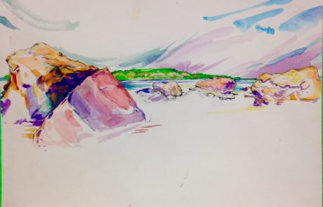 watercolour painting of rocks with river and far shoreline under a pastel sky
