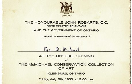 Image in black and white of invitation to 1966 official opening of McMichael Canadian Art Collection . It is personalized to Mr. McMichael.