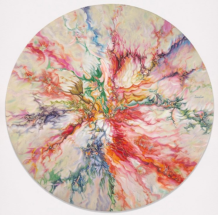Alex Janvier, Spring Equinox, 2002, oil on linen, 160 cm (diameter). Courtesy of the artist and Janvier Gallery, Cold Lake First Nations © Alex Janvier. Photo: NGC
