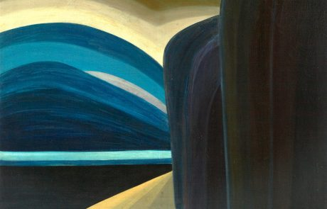 Oil painting in an abstract style depicting towering round topped cliffs in the right half of the painting in shades of deep blues and black. A angular sandy beach at the foot of the cliffs completes the bottom of the painting. Water in a triangle in shades of darkest blue to light blue at the left of the painting. Rounded shapes in bands of blues, cream, grey and greens above the water and to the left of the cliffs.
