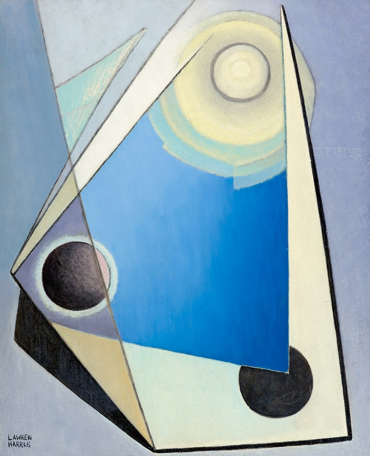 oil painting in an abstract style of triangles and circles in shades of blue, black and white