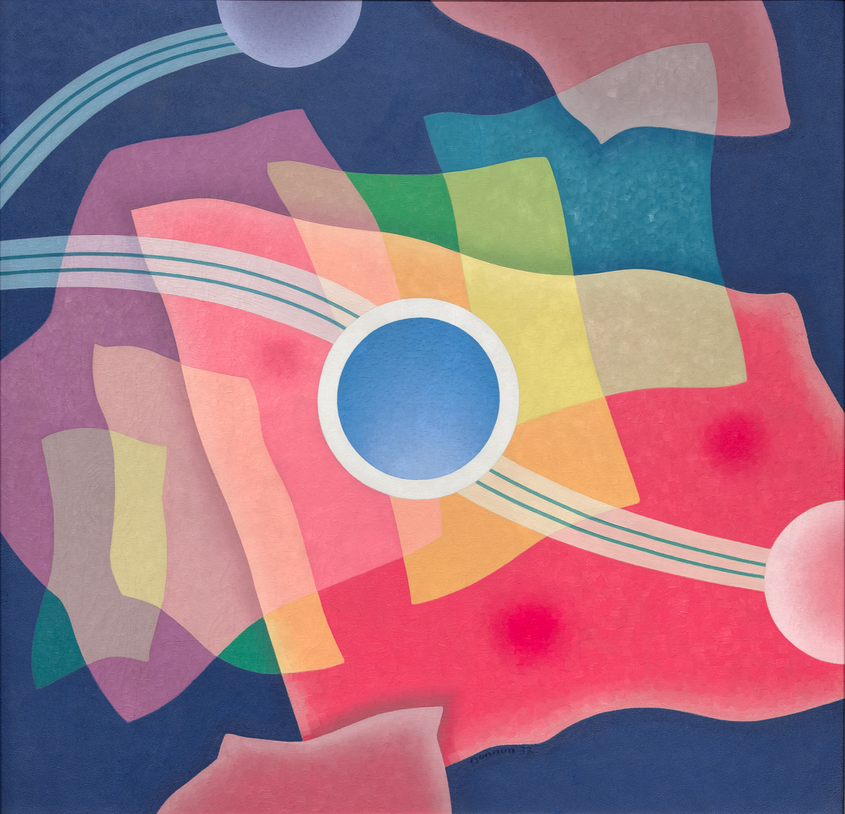 Oil painting in abstract style. Purple background with pastel coloured angular shapes in layers on top of background colour. White circle with blue interior in centre of painting linked to two half circles in pastel pink (lower right edge) and violet (centre left top edge). Circles are linked by white and blue lines.