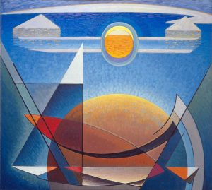 Abstract oil painting in shades of blue, yellow, orange and white. Shapes of circles, triangles with dappled texture.