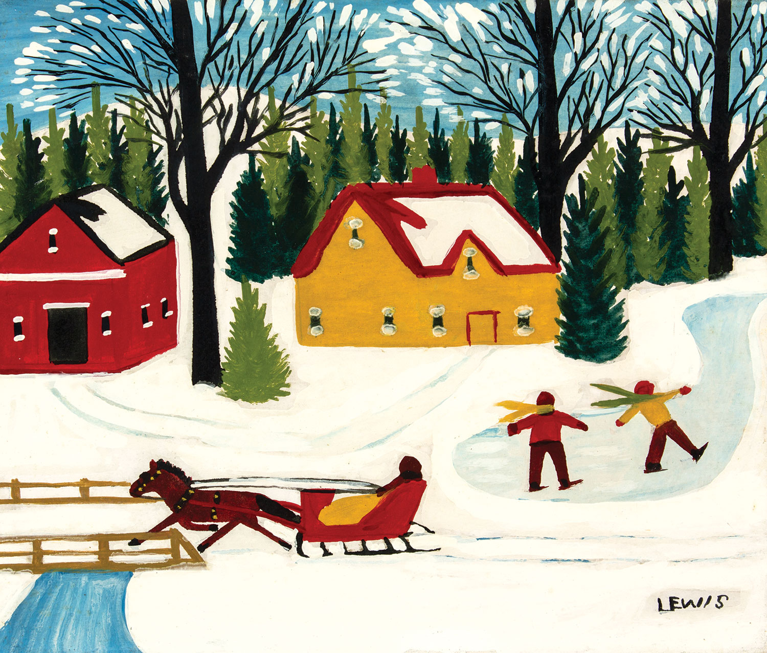 """Maud Lewis """"Skaters on a Pond"""""""