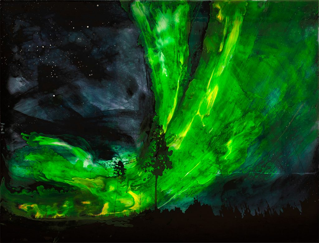 Painting depicting night sky with green northern lights and a tree in centre.