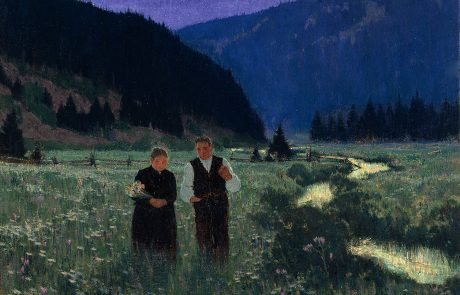 painting of a man and a woman walking in a flower meadow beside a stream. Hills in background. The woman is holding a bunch of white flowers.