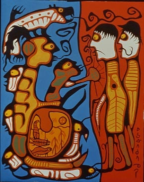 painting of human figures and animal images in bright blue, orange, brown and white