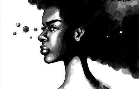 black and white painting of the profile of a woman with large hair-do that appears like a night sky