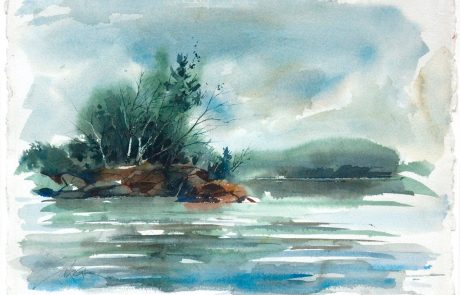 watercolour painting of a body of water with trees and rocks on the shore on left side