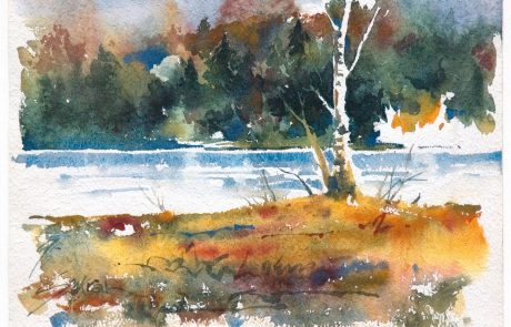 watercolour painting of a river with trees on shorelines