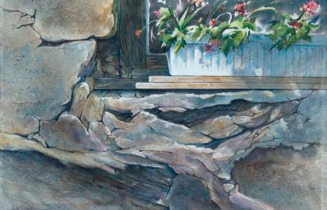painting of a window box with flowers on an ancient stone wall