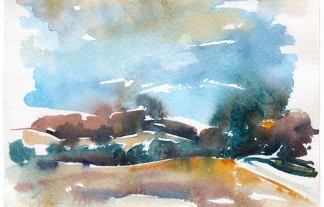 watercolour painting of a landscape with blue sky