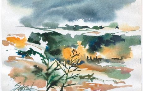 watercolour of a landscape in an abstract style