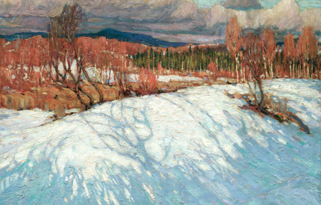 Painting in oil of a winter scene. Snow in foreground with shadows of unseen trees. Deciduous and some evergreen trees in middle section with mountains in the distance below a cloudy sky.