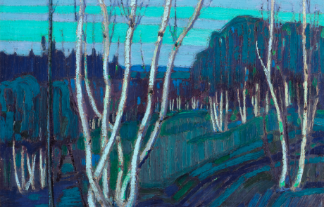Oil painting of many silver birch tree clumps in a predominantly blue landscape.