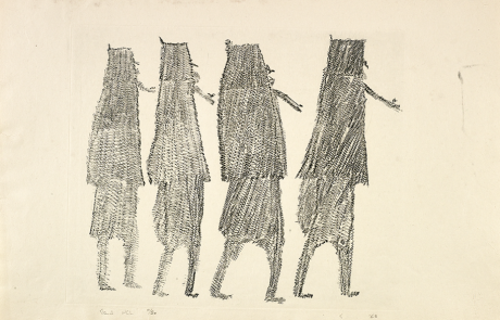 Engraving in black on white paper of the rear view of four female figures.