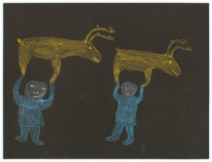 drawing on black paper of two blue figures with a yellow reindeer facing to the right above each of them