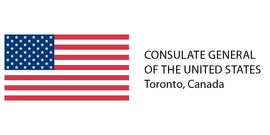 The United States flag with words saying Consulate General of the United States Toronto, Canada