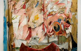 collage of fabric and other materials in an abstract style in shades of white, gold and pink